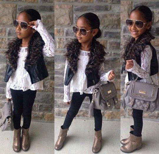 Fur leather vest and leggings #boots #kid swag