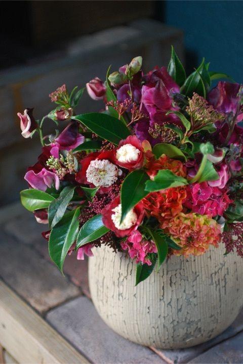 Camellia & Sweetpea bouquet