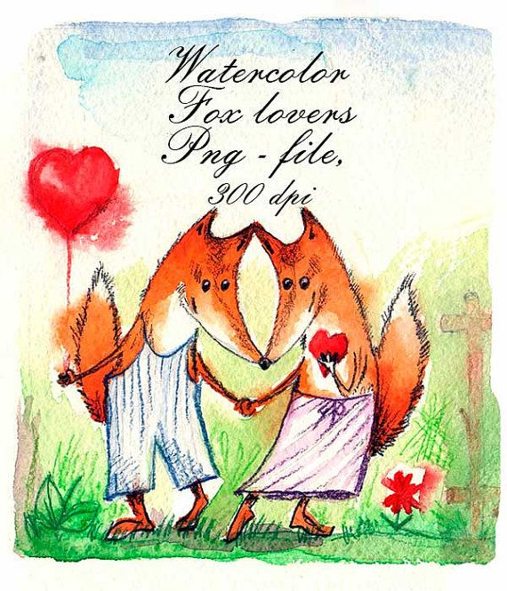 Watercolor Fox lovers. Wedding invitations от VectorGraphicArts