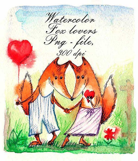 Watercolor Fox lovers. Wedding invitations от VectorGraphicArts