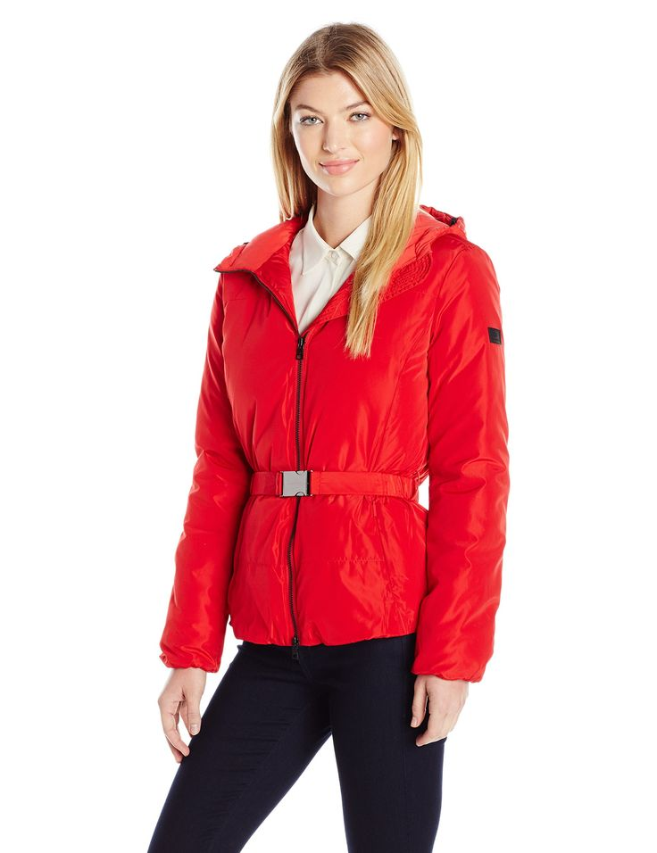A|X Armani Exchange Women's Puffer Coat with Belt, Absolute Red, X-Large. Hooded. Regular fit.