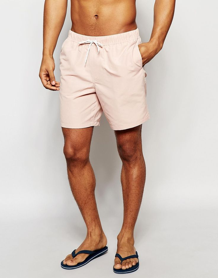 Image 1 of ASOS Mid Length Swim Shorts In Pastel Pink