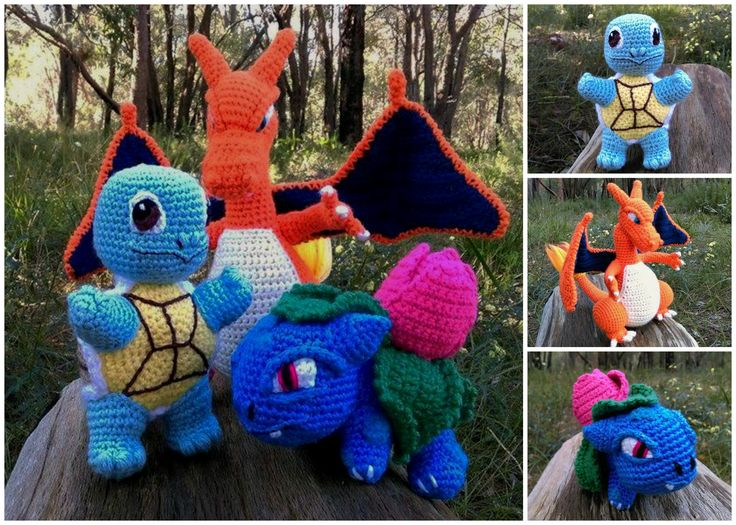 'Squirtle', 'Charizard' and 'Ivysaur' - Pokémon characters - Collage.   Project information and pattern links here;   'Squirtle' - http://www.ravelry.com/projects/LindaDavie/baby-Squirtle  'Charizard' - http://www.ravelry.com/projects/LindaDavie/Charizard 'Ivysaur' - http://www.ravelry.com/projects/LindaDavie/baby-bulbasaur