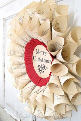 Pretty book page paper wreath—embellished with a Christmas greeting❣ Le Petit Chateau