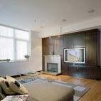 asymmetrical built-in media cabinet