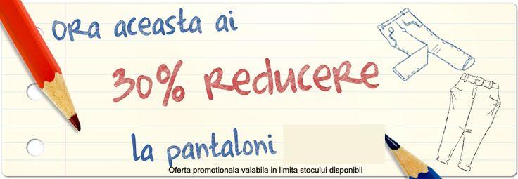 Nu rata oferta noastră! Până la orele 16 beneficiaţi de o reducere de 30% la pantaloni! Vă aşteptăm in magazinele miniPrix!