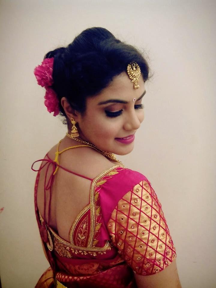 Indian bride's bridal reception hairstyle by Swank Studio. #Saree #Blouse #Design #HairAccessory Tamil bride. Telugu bride. Kannada bride. Hindu bride. Malayalee bride. Find us at https://www.facebook.com/SwankStudioBangalore