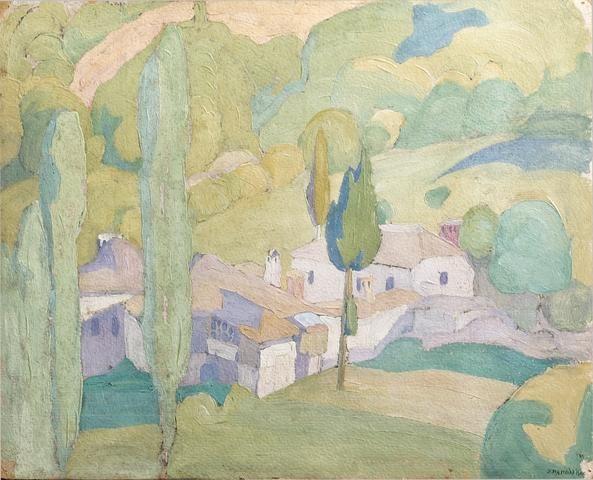 Spyros Papaloukas (1892-1957) View of a Greek village