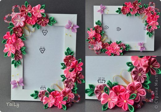 Декор предметов Украшение Цумами Канзаши Много розовых цветочков и корзинка Ленты фото 3