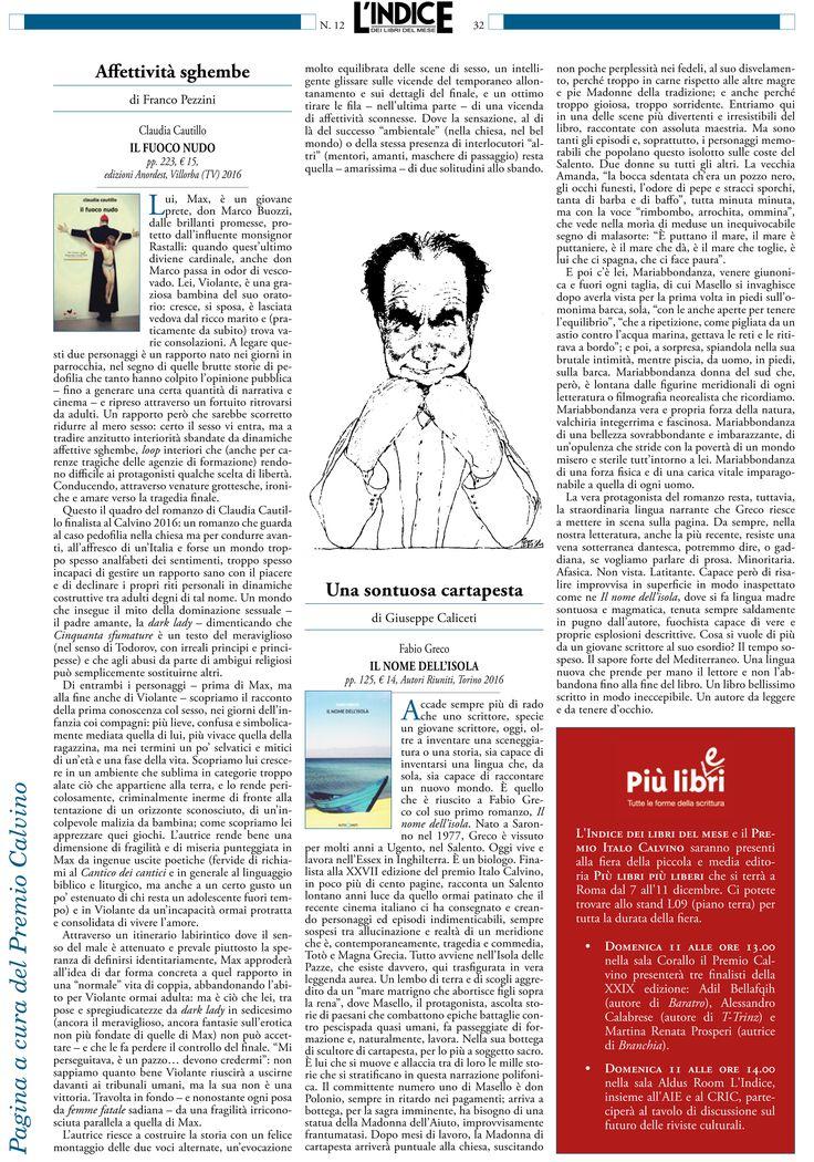 """Sul mese di Dicembre della Rivista Letteraria L'Indice, la recensione di Franco Pezzini a """"il fuoco nudo"""""""