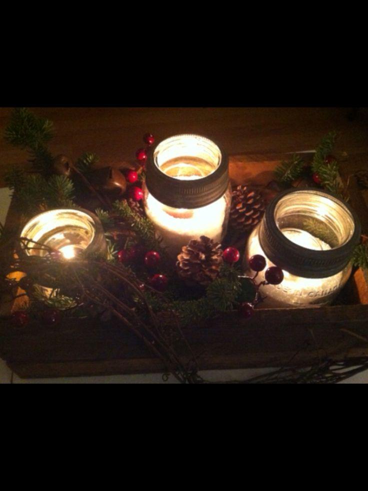 Old wooden box + Crown jars = simple candle display