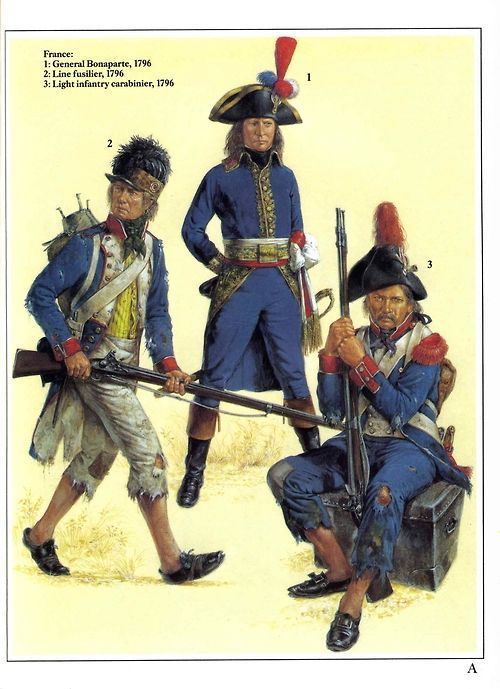 French army, Italian campaign, 1796.    L to R - line fusilier, General Bonaparte and light infantry carabinier