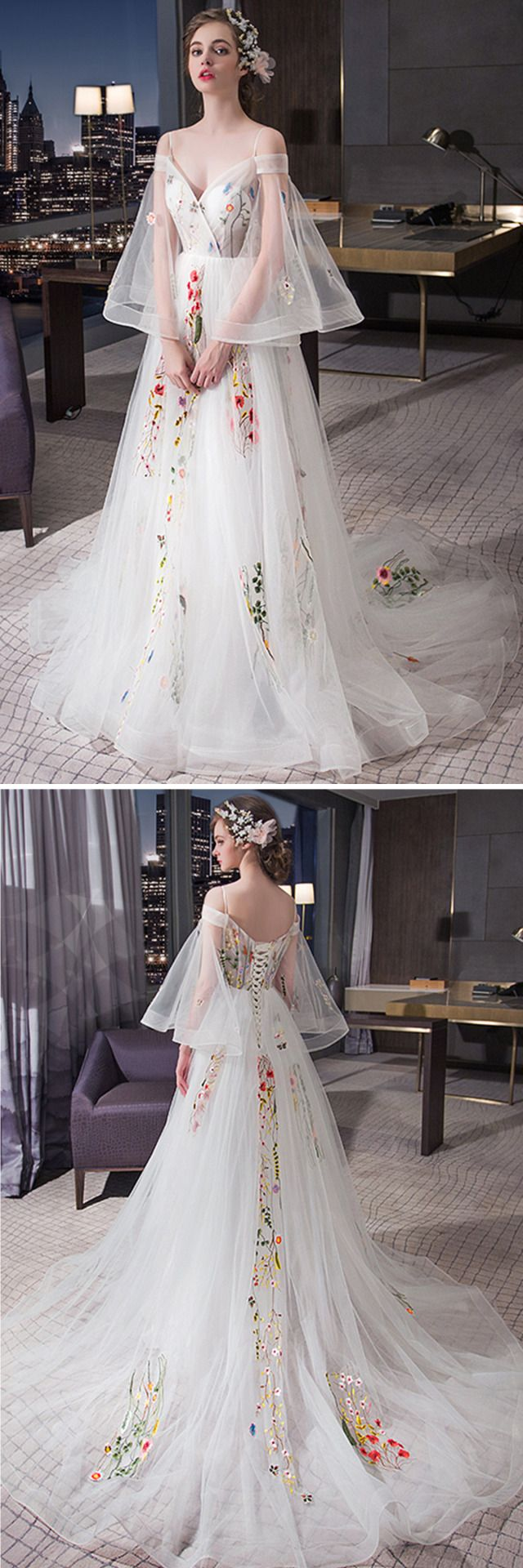 Beautiful white tulle off shoulder prom gown wedding dress