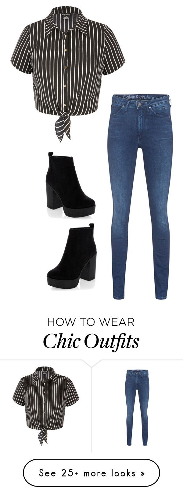 """Untitled #526"" by skittles1324 on Polyvore featuring City Chic, Calvin Klein Jeans and New Look"