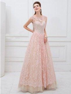 A-Line/Princess Short Sleeves Bateau Applique Floor-Length Lace Dresses