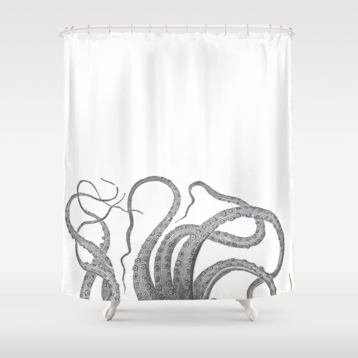 Vintage kraken octopus tentacles nautical antique sea for Tentacle shower curtain