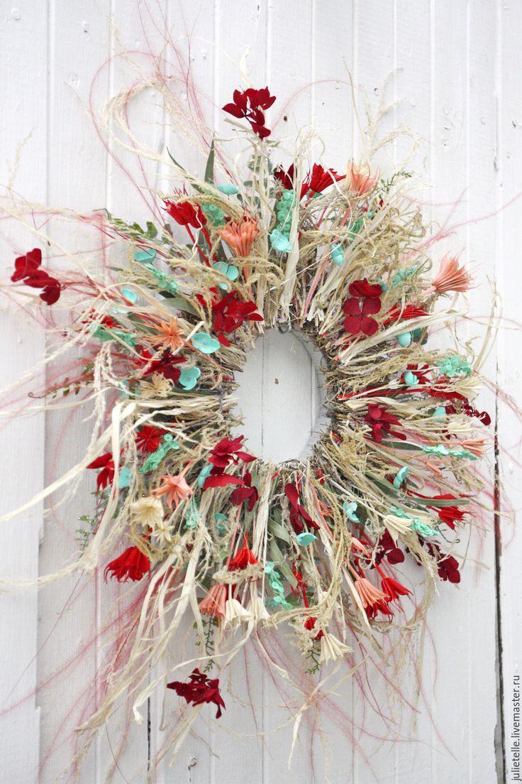 Купить Летнее украшение на стену - ярко-красный, бирюзовый, декор стен, летнее украшение