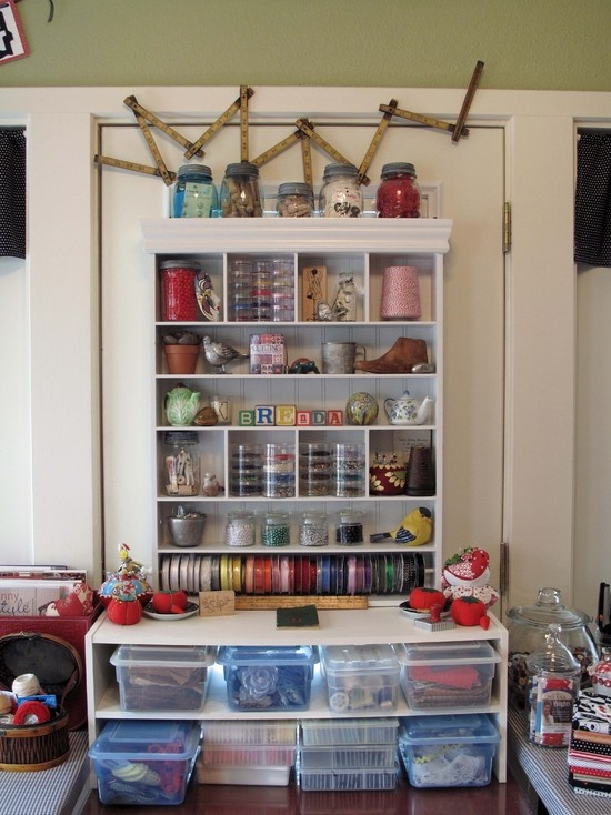 I Like The Idea Of Using The Shoe Rack To Hold Clear Storage Containers ~  Cozy Sewing Space Eclectic Home Office (craft Room Decorating, Decor Ideas)