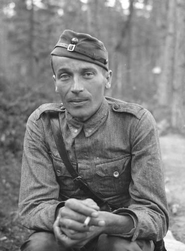 Second Lieutenant Toivo Korte (1911-1965)  Mannerheim Cross 8 September 1942 after he had completed 131 missions behind enemy lines with his trusted jaeger platoon.