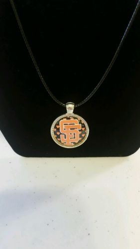 San Francisco Giants Baseball Cabachon Necklace, 17in.faux leather chain.