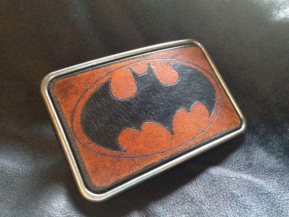 Leather batman belt buckle by SkinzNhydez on Etsy