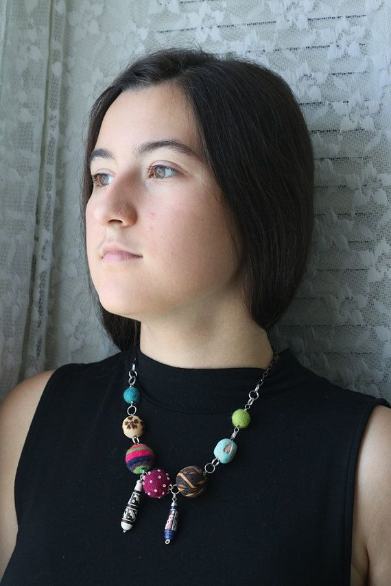 Peruvian Statement Hand Felted Necklace Burned Wood by Annaart72