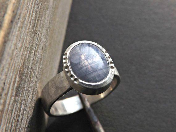blue star sapphire ring sapphire ring silver by CrazyAssJD on Etsy