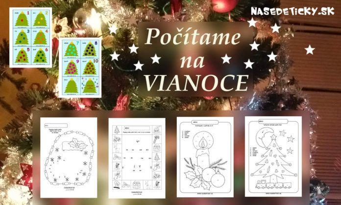 Vianočné pracovné listy pre deti - čísla a počítanie