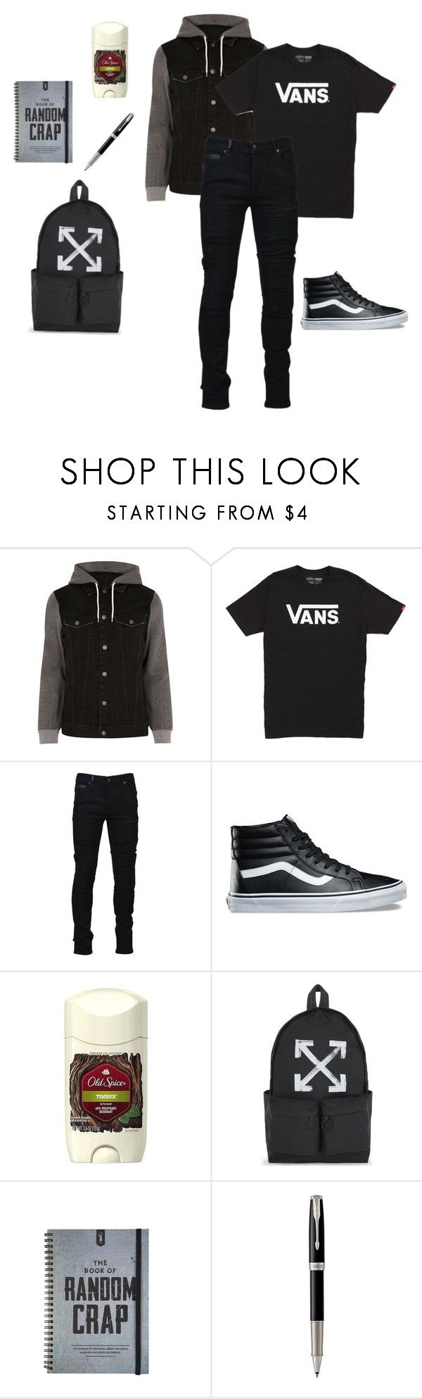 """""""Max's Look, Sophomore Year: Day 1~HSLS"""" by mystic-moonstone ❤ liked on Polyvore featuring River Island, Vans, Marcelo Burlon, Old Spice, Off-White, Parker, men's fashion and menswear"""