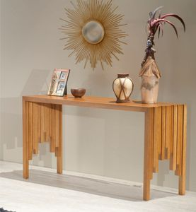 Furnitech Contemporary Rustic Cherry Console Table In Honey Home Furniture And Patio Modern