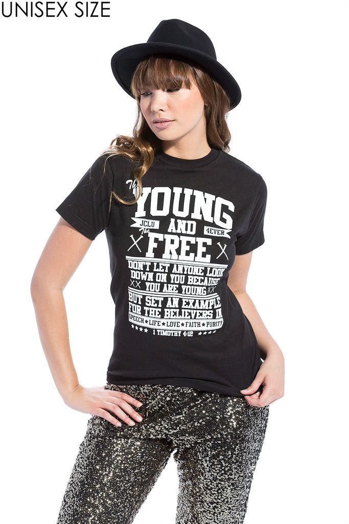 Young and Free Black Unisex Christian T-Shirt