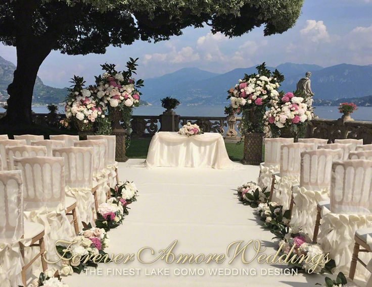 Elegant wedding ceremony at Villa Balbianello, Lake Terrace with giant oak tree. Picture by ForeverAmoreWeddings ©