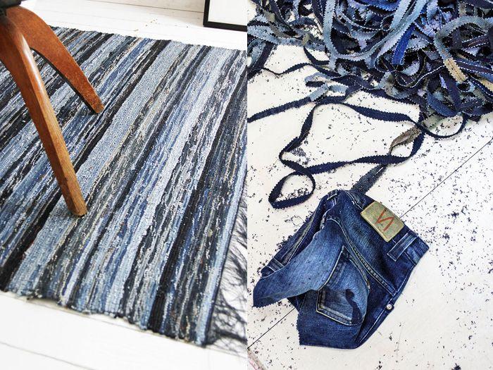 Nudie Jeans Post Recycle Rag Rug Shuttle Loom Indigo Denim