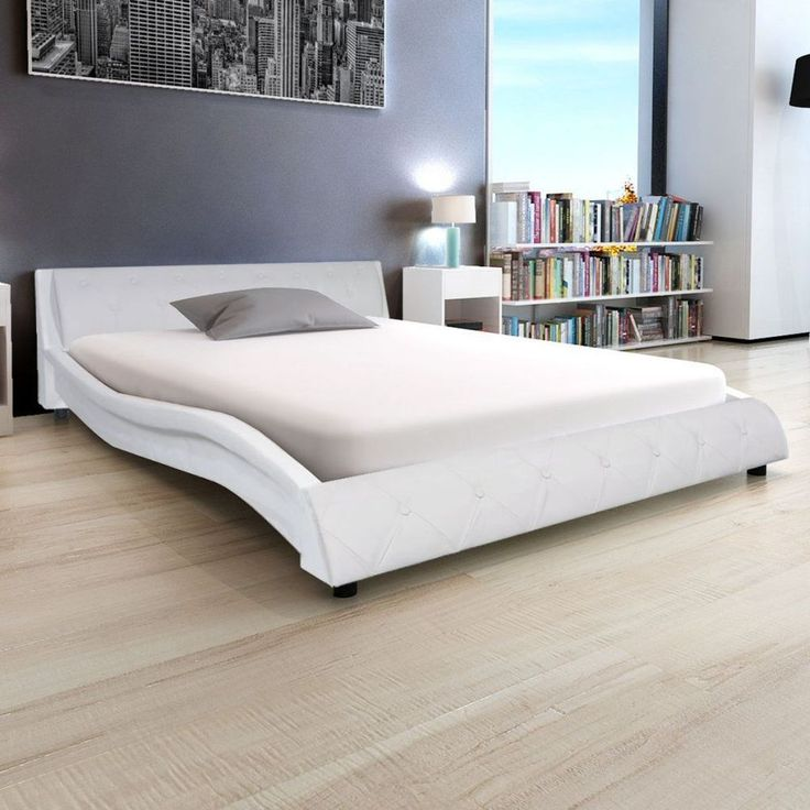 4ft6 Double Bed Frame with Slats Luxury Bedroom Furniture White Faux Leather Bed