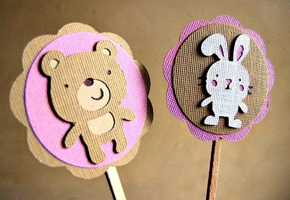 Build A Bear Party  Cupcake Toppers  Set of 12 by ScrapYourStory