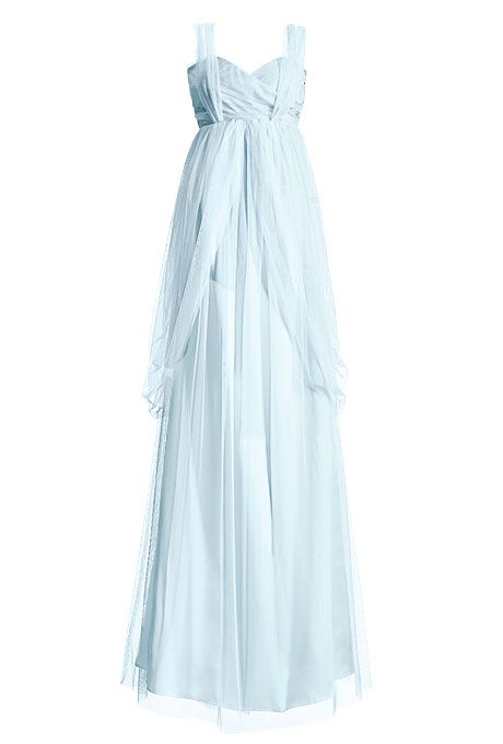 Brides: Elizabeth Dye. Pale Blue Wedding DressCan't you just see this pale blue gown by fashion designer Elizabeth Dye at an oceanside wedding?Pale blue wedding dress, $2,450, Elizabeth DyeBrowse more beach wedding dresses.Featured In: Elizabeth DyePhoto:  Aaron Dyer