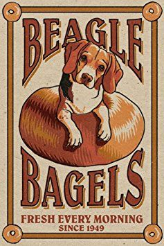 Beagle Bagels - Retro Ad (12x18 Art Print, Wall Decor Travel Poster)