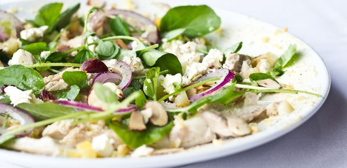 Salad of Roast Chicken, Roast Bulgur Wheat and Mixed Lettuce with Preserved Lemon Dressing
