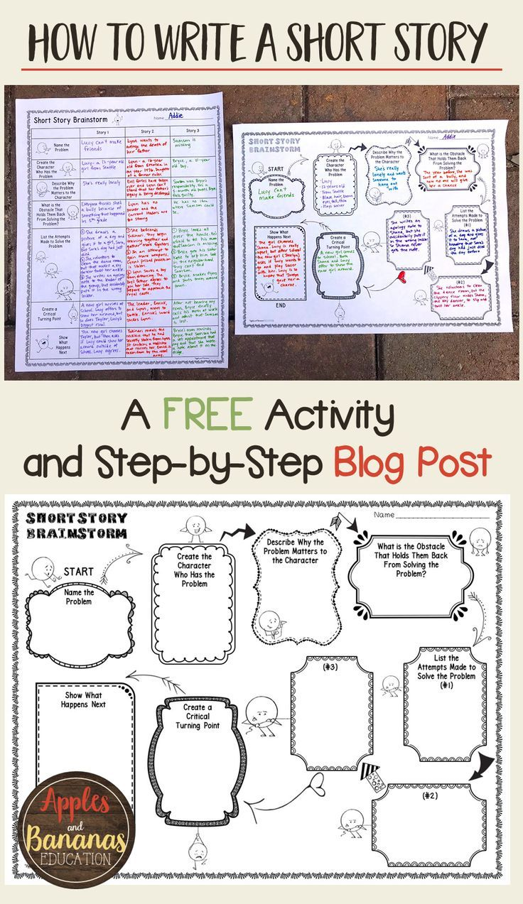 Short Story Pre-Writing and Brainstorm Activity -  Narrative