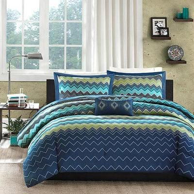 Boys Teen BLUE GREEN GEOMETRIC ZIGZAG Comforter Bedding Set NEW TWIN/TWIN  XL On EBay