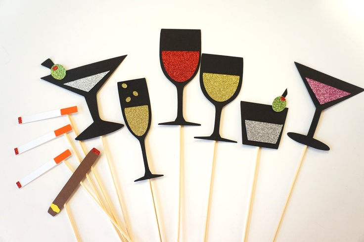 Photo Booth Props - Friday Night Collection - Set of 10 Photobooth Props with GLITTER. $35.00, via Etsy.