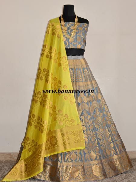 Banarasee/Banarasi Handwoven Semi Silk Unstitched Lehenga & Blouse Fabric With Dupatta-Grey