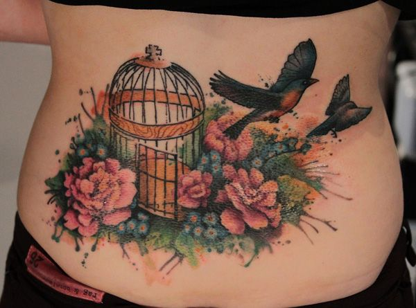 Watercolor Low Back Tattoo
