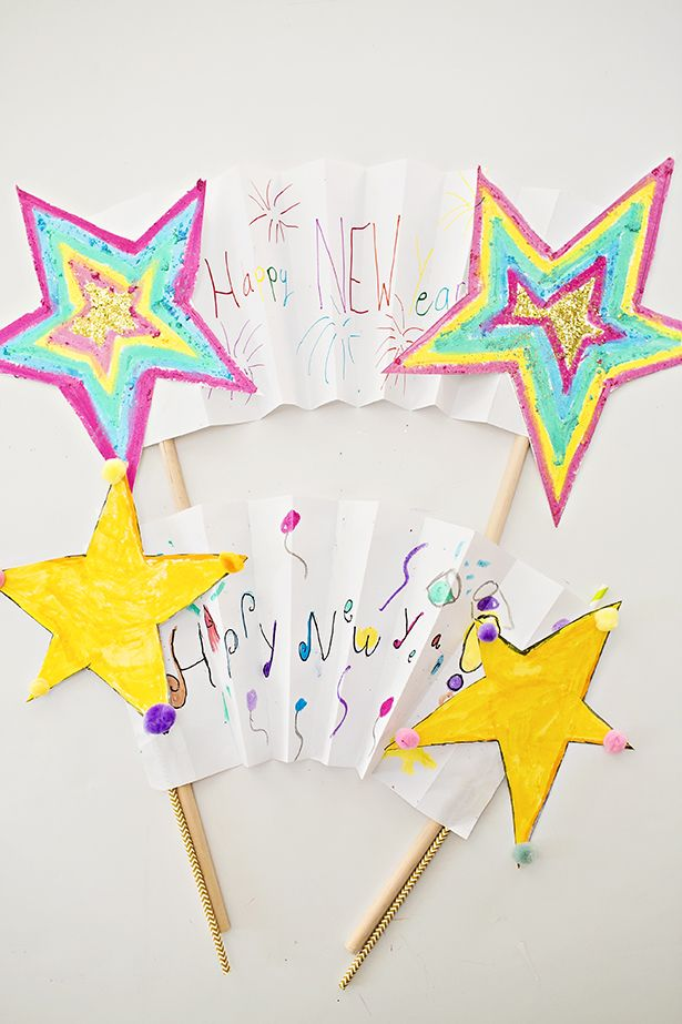 New Year Shooting Star Banner Kids Art #newyearscrafts