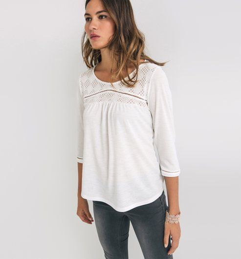 T-shirt avec tulle brodé Femme promod