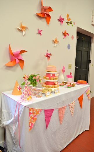 "Photo 1 of 36: Pinwheels / Birthday ""Pink and Orange Pinwheel Party"" 