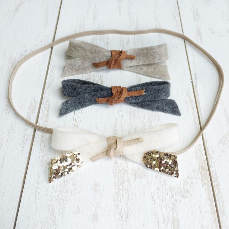 Set of Three Felt Bow Headbands // Suede & Glitter Accent // Nude Elastic Headband by ThePetiteHarper on Etsy https://www.etsy.com/listing/238081164/set-of-three-felt-bow-headbands-suede