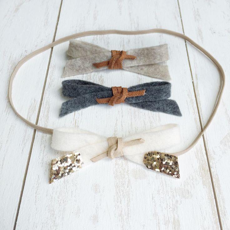 Set of Three Felt Bow Headbands // Suede & Glitter Accent // Nude Elastic Headband by ThePetiteHarper on Etsy https://www.etsy.com/listing/238081164/set-of-three-felt-bow-headbands-suede