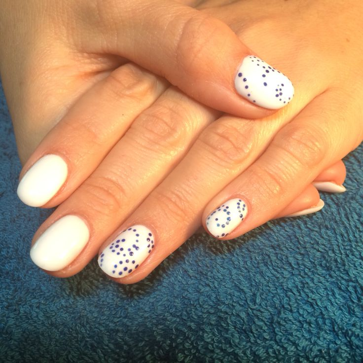 White French Fill Gel....round with blue mosaic dots