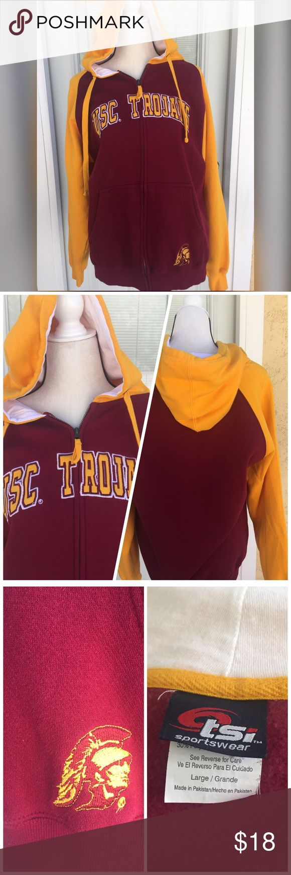 💥💥Hoodie Sweatshirt 💥💥 Stay warm and show off you USC TROJAN hoodie. Soft fleece inside. Hood with drawstring. Embroidered appliqué. Full zipper. 70% cotton 30% polyester. Good condition💥💥💥💥👍🏼 Tops Sweatshirts & Hoodies